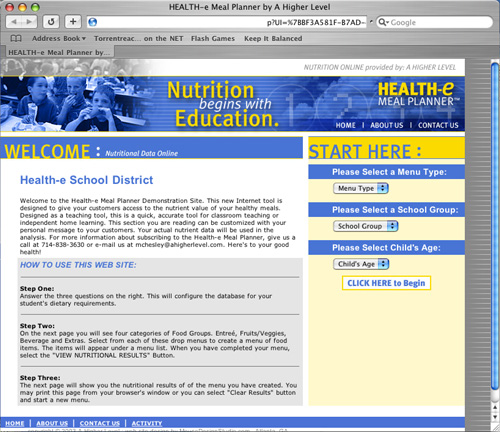 Health-e Meal Planner - Database Driven Nutritional Information for School Lunches