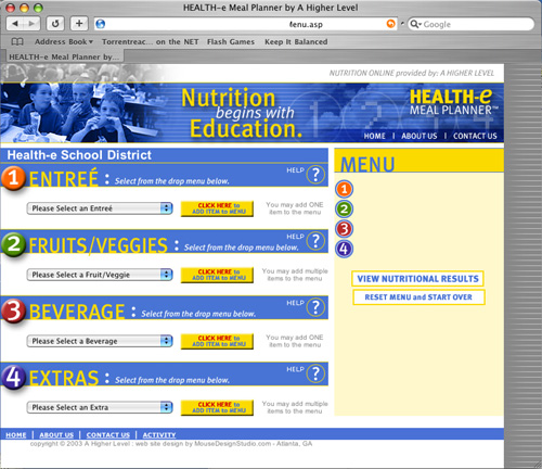 Health-e Meal Planner - Database Driven Nutritional Information for School Lunches 2